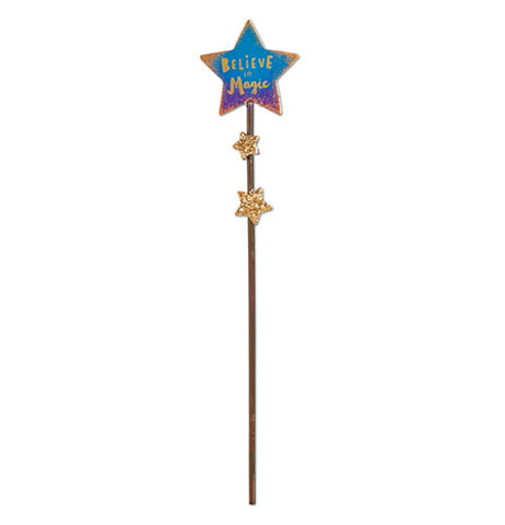"The (Mini) ""Magical Sign"" Garden Pick looks like a wand with the message on the blue and purple star that says, ""Believe in Magic""."