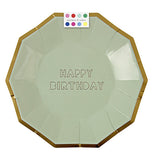 "The Small Party plates that are olive green with a gold rim and say ""Happy Birthday"" comes with a swatch of different colors."