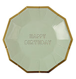 "The Small Party plates that are olive green with a gold rim and say ""Happy Birthday."""