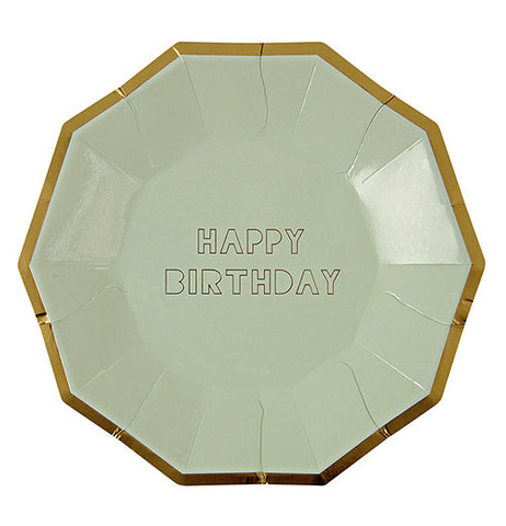 "Party plates that are olive green with a gold rim and say ""Happy Birthday."""