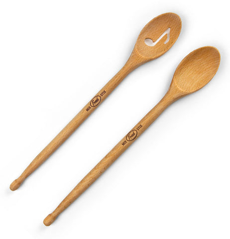 Two mixing spoons; one has a with a hole shaped like a musical note, and the other plain.
