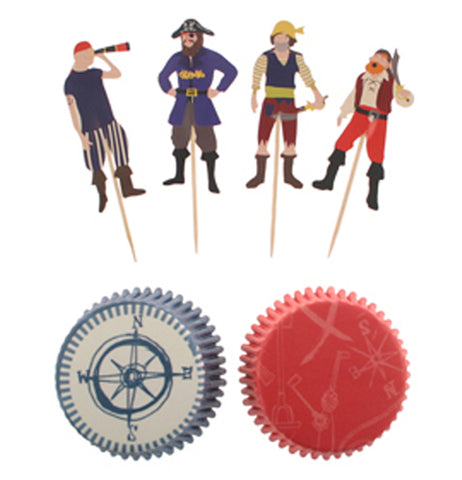 "The ""Ahoy!"" Cupcake Kit has four of the 24  pirate cupcake toppers, and two of the 24 cupcake papers below them."