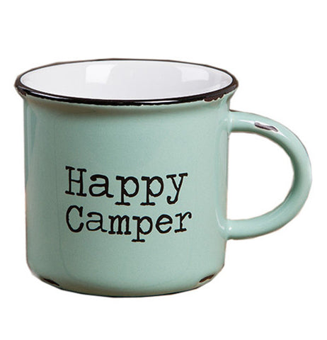 "Green Camp Mug that says ""Happy Camper"""