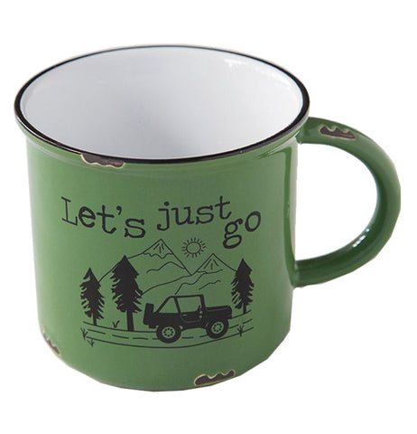 "The close-up of the green Camp Mug that says, ""Let's Just Go"" has an illustration of a black jeep driving in the forest."