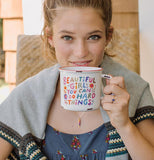 "A beautiful girl drinking the ""Beautiful Girl"" Camp Mug."