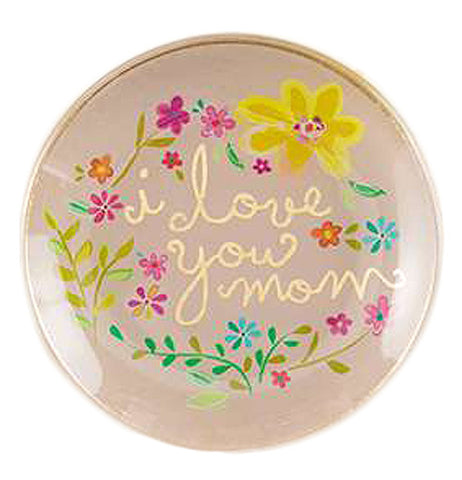 "Beige glass tray with a pink and yellow floral design and ""I Love you mom"" in the center."