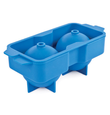 Blue ice tray that is balloon shaped.