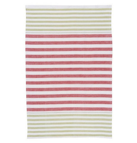 "The third ""Holiday Cheer"" Tea Towel is a white towel with green stripes and red stripes in the middle."