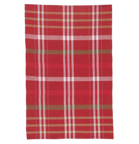 "The first ""Holiday Cheer"" Tea Towel is a red towel with red, white and green plaid."