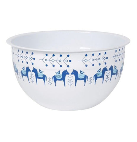 "The small white ""Meadowland"" bowl has blue horses around the bowl."