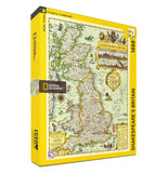 "Diagonal view of yellow box with map of ""Shakespeare's Britain"" with a map of the United Kingdom when Shakespeare lived."
