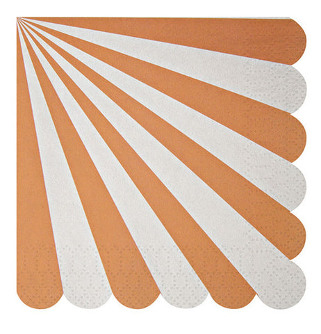Napkins with orange and white stripes.