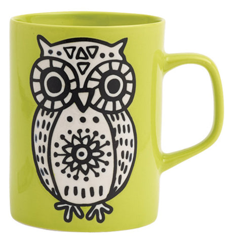 This bright green mug has a white owl design covering it.