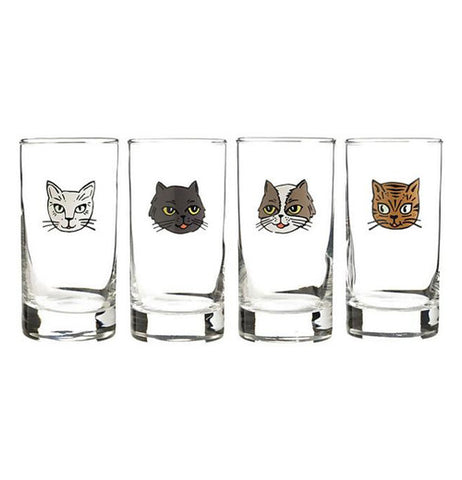 four cute little Cat Glasses one cat face on each