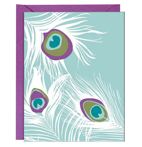 Note cards with 3 peacock feathers with purple, green, light blue and blue feathers. The envelope is purple.
