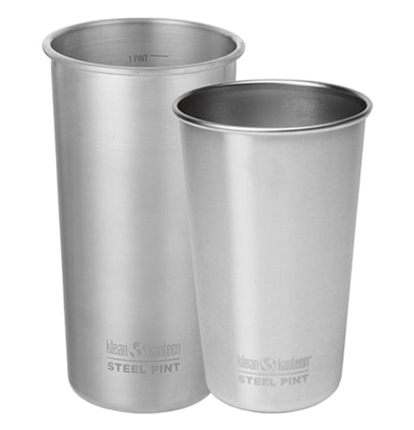 The 20 oz and 16 oz steel drinking cups are shown together sitting side by side.