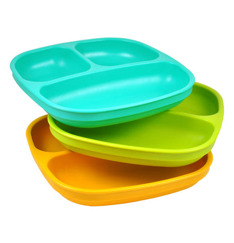The (Set of 3) Baby Plates comes in the aqua, lime green, and orange stacked up in a row.