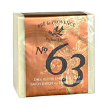 "Soap package is tan with gold swirl and says ""No. 63."""