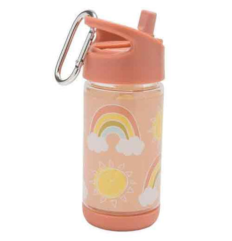 A pink water bottle has rainbows and sunshine in the middle against a pastel pink background. The back of the bottle is angled to the left. The spout is up. A steel carabiner hangs off the lid.