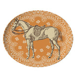 This tray has an orange background with a white horse.