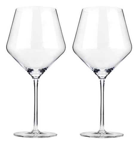 Two empty wine glasses.