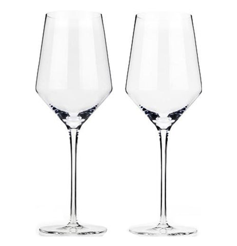 These two wine glasses are made from crystal chardonnay and are a foot tall.