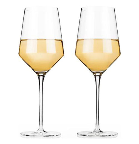 Wine is shown inside the glasses.