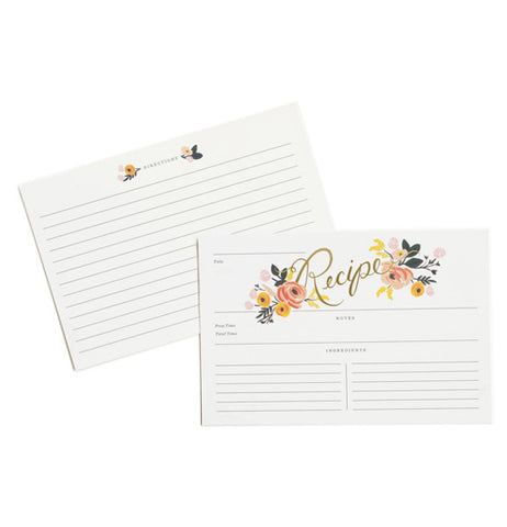 Both sides of the recipe cards with the rose designs are shown. The back part is shown with a few small roses at the top above the lines. The front part is shown with the rose design more pronounced at the top of the writing lines.