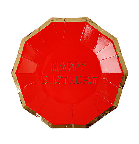 "Party plates that are red with a gold rim and say ""Happy Birthday."""