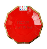 "Party plates that are red with a gold rim and say ""Happy Birthday"" comes with a swatch of different colors."