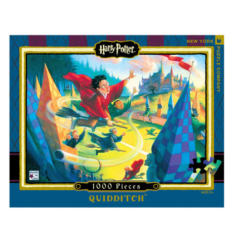 "Front view of ""Quidditch"" puzzle with Harry Potter flying on a broom in a red uniform trying to catch the golden snitch over a green field and pointed spires."