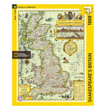 "Front view of yellow box with ""Shakespeare's Britain"" puzzle with a map of the United Kingdom when Shakespeare lived."