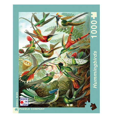 "Centered view of ""Hummingbirds"" puzzle with different types of hummingbirds fluttering and sitting among fern leaves."