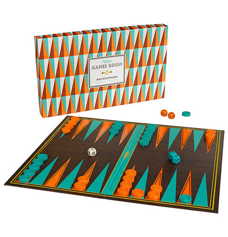 this is a Backgammon Game in geometric colors, such as orange, turquoise and brown. The box stands with the dice nearby.