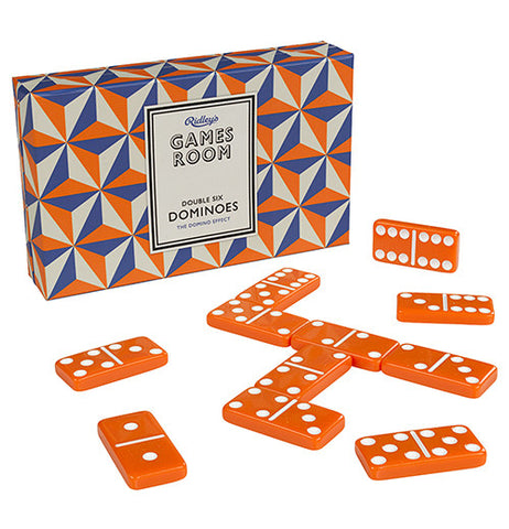 Wild & Wolf-Ridley's Game Room Dominoes Set with box standing up and dominos laying out on a white background.