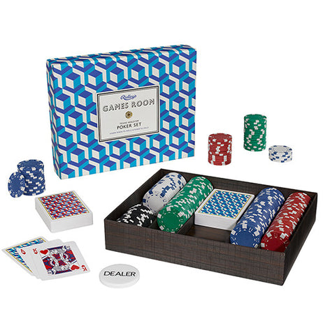 Poker set with green, blue, white and red chips with geometric colored blue, white cards and box lid.