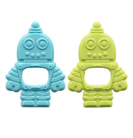 Set of 2 silicone retro robot teethers one is blue and one is green.