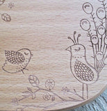 The image of some smaller birds at the bottom of the cheese board is shown by itself.