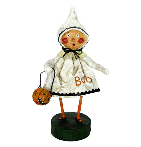 "The ""Little Boo"" figurine wears a white ghost costume with black accents and the word ""Boo"" in orange letters along with an orange trick or treat bucket in her hand."