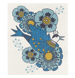 "The close-up of the ""Birdland"" Swedish Dish Cloth features a blue bird flying among light blue flowers."