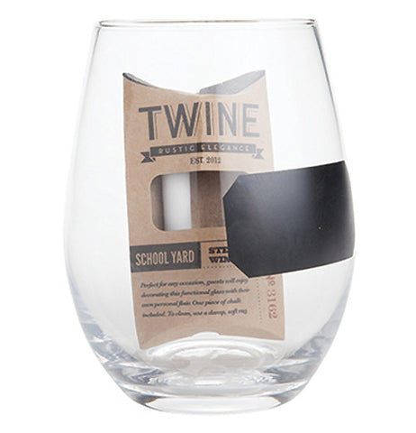 This wine glass comes with chalk so you can write your name on the glass.
