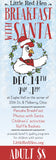 A Breakfast with Santa ticket with the Little Red Hen Logo and text that says Dec 14th, 9am - 1pm, Adult $8
