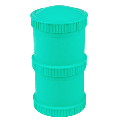 "The 'Aqua"" Snack Stack includes two snack stack pods with two lids."