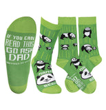 "These are dark and light green socks with panda bear print images that say ""Mama Bear"" written in white on the top and ""If you can read this go ask dad"" written in white on the bottom over a green background."