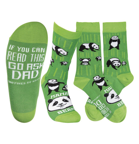 "Dark and light green socks with panda bear print images that say ""Mama Bear"" written in white on the top and ""If you can read this go ask dad"" written in white on the bottom over a white background."