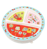 Baby plate with birds and butterflies on it.