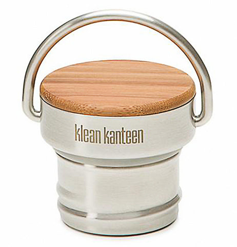 "This stainless steel lid with a steel handle has a top made of wood. The logo, ""Klean Kanteen"" is shown in brown lettering under the wooden top."