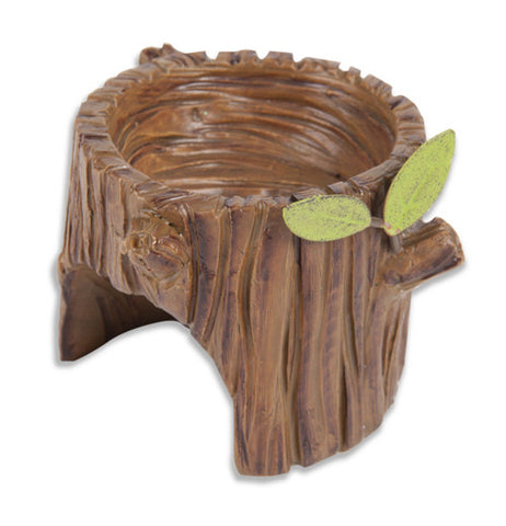 Miniture garden stump planter is brown with two leaves.