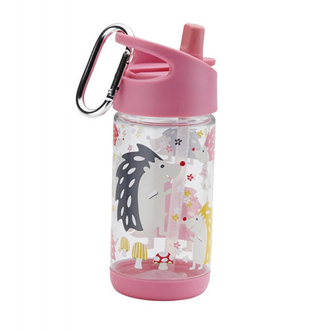 A cup with a light pink cap made for keeping liquid inside with pictures of baby porcupines.