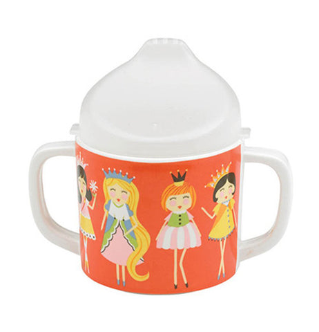 This sipping cup has princesses on it and is orange with a white top and white handles.